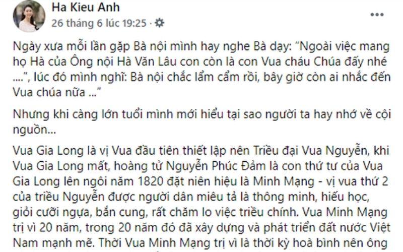 Bài đăng tự nhận của Hà Kiều Anh