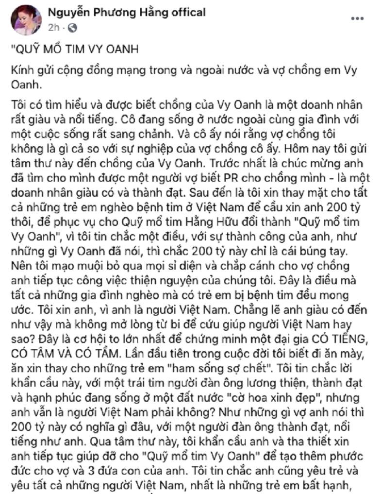 """Bà Hằng """"vứt liêm sỉ"""" để """"ăn xin"""" 200 tỷ của Vy Oanh"""