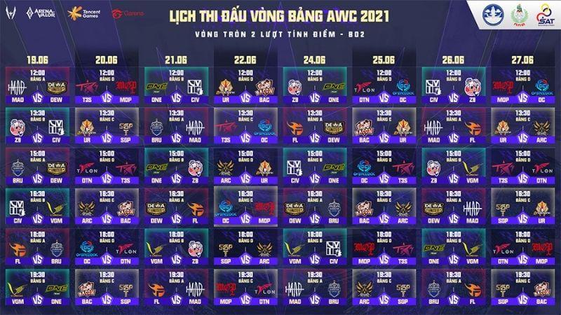 Danh sách bảng đấu và lịch thi đấu AWC 2021 chi tiết nhất