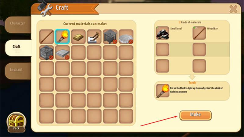 Chế tạo: Trong túi đồ bạn có thể chọn mục Craft để chế tạo trang bị.