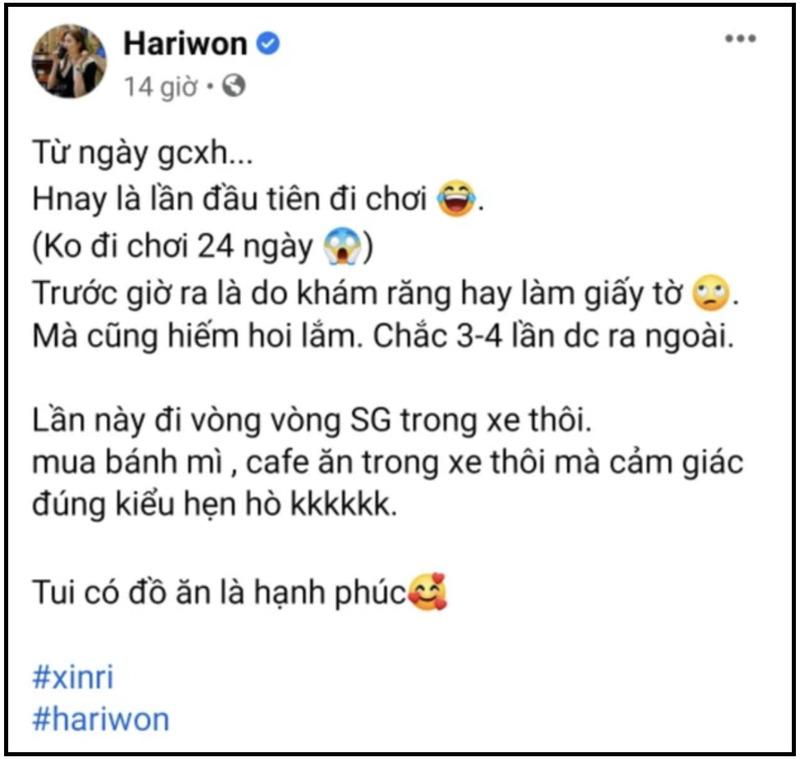 Hari Won đăng status