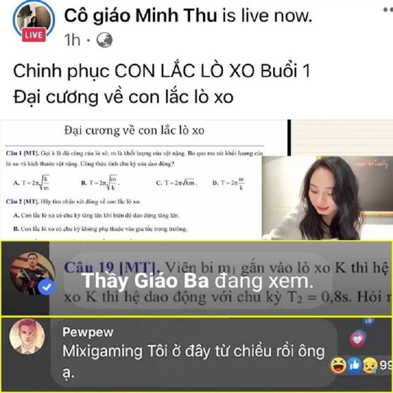 Độ Mixi và PewPew cũng vào học Vật lý cùng cô giáo Minh Thu