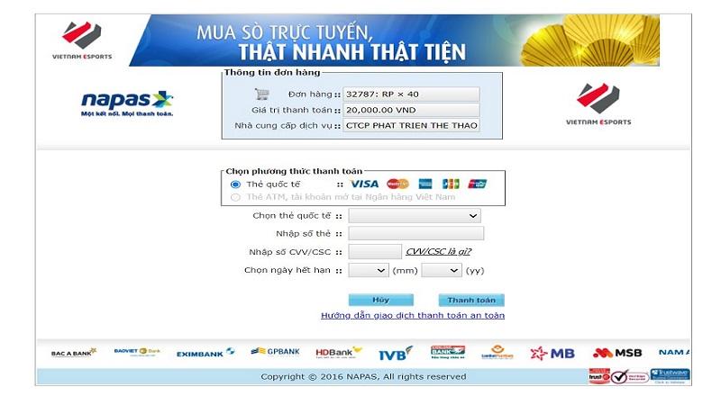 Nạp thẻ Garena qua thẻ quốc tế ( VISA, Master card, AMEX, JCB)