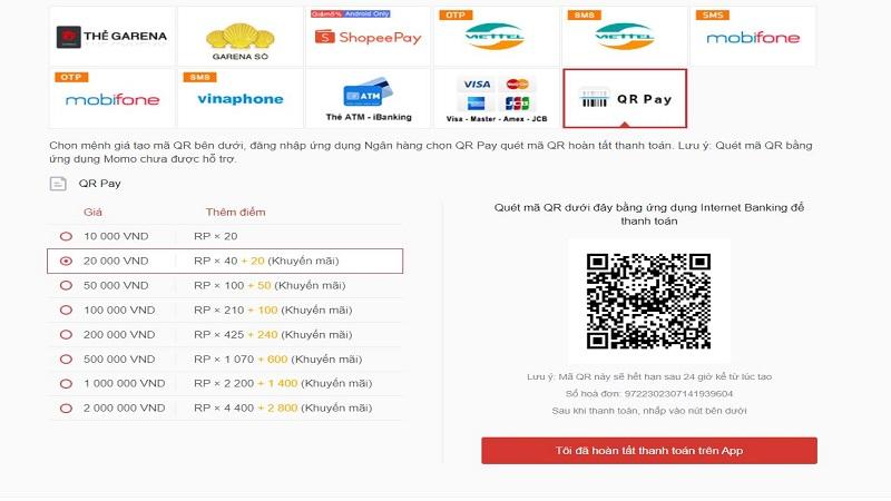 Nạp thẻ Garena qua QR Pay