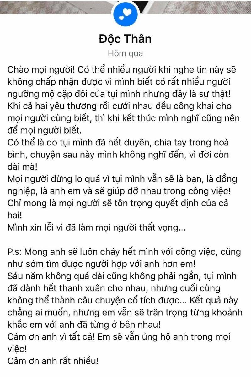 status thông báo ly hôn của Lương Minh Trang