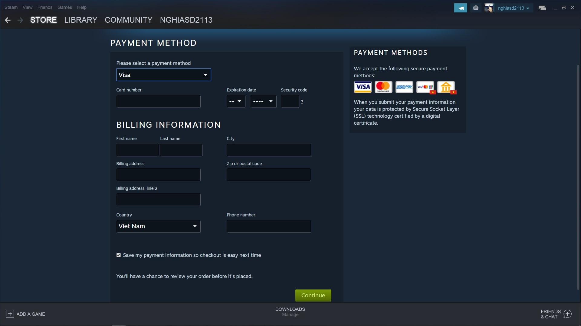 Bước 5: Hoàn thành điền các thông tin để thanh toán game thông qua thẻ Visa của bạn.
