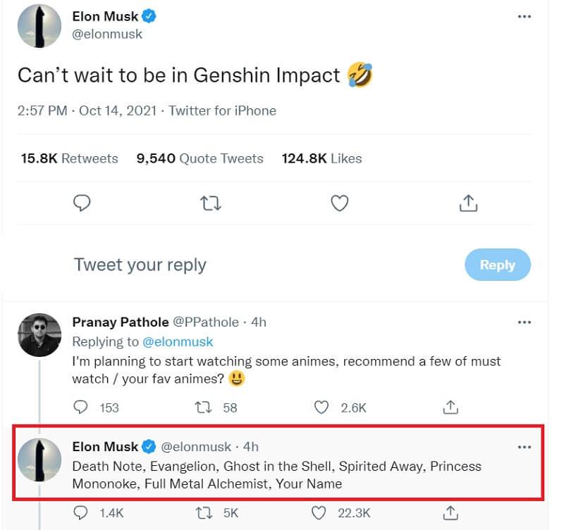 Elon Musk tư vấn anime cho người theo dõi của mình