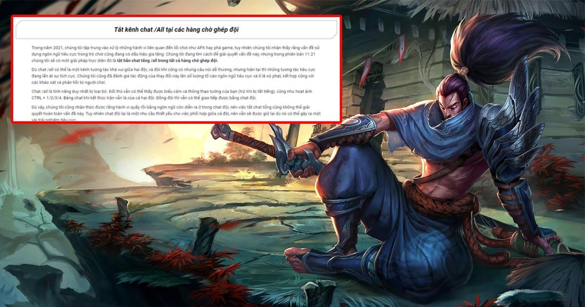 LMHT Riot Games khóa chat All game thủ phản ứng gay gắt