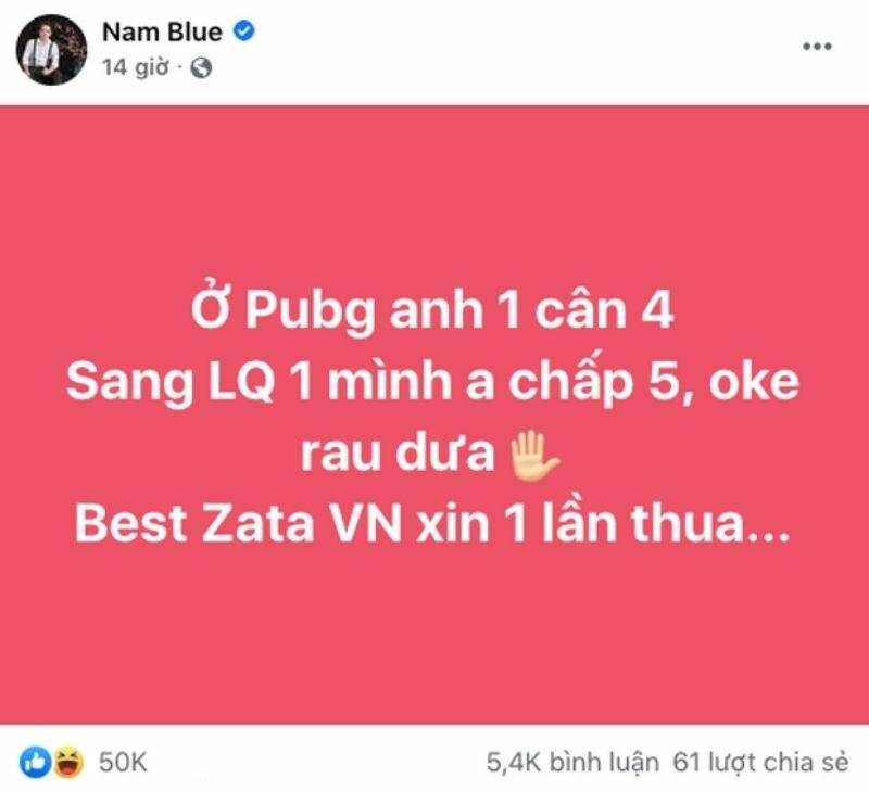 dòng trạng thái gây sốt cộng đồng mạng của Nam Blue