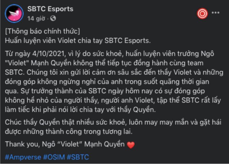 SBTC Esports thông báo lí do